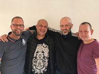 Herbert mit seinen AERO drinks-Mitgründern Ryan und Andreas sowie Felix (von links nach rechts), ohne den die Sprühcocktails nur eine Idee geblieben wären